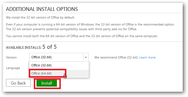 Select 64 bit version office 2013