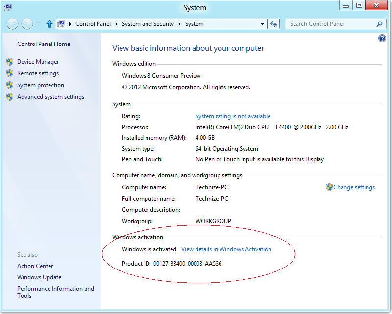 activated windows 8 showing
