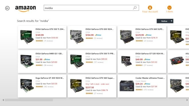 amazon app search in windows 8
