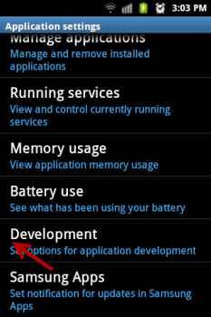android development menu