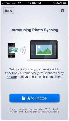 facebook photo sync start
