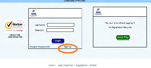 bsnl online payment sign up
