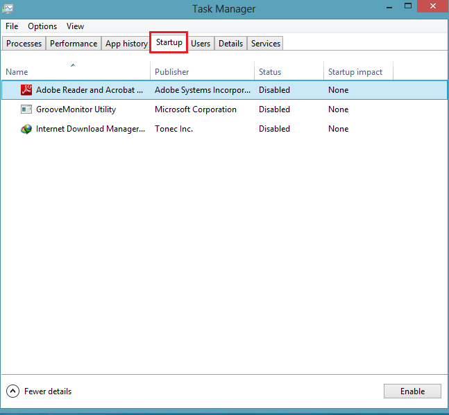 disable startup items in windows 8 task manager