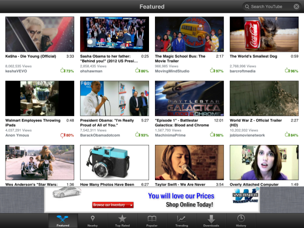 iPad Video Tube app main page