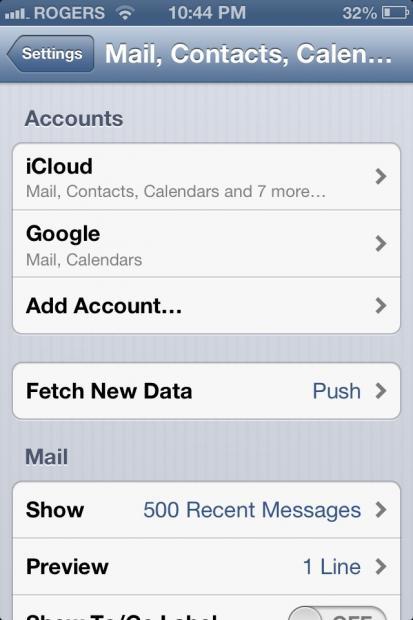 iPad outlook settings