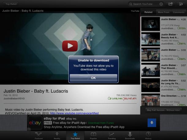 iPad video tube app message