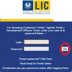 lic website login page