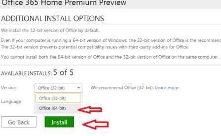 office 365 64 bit install