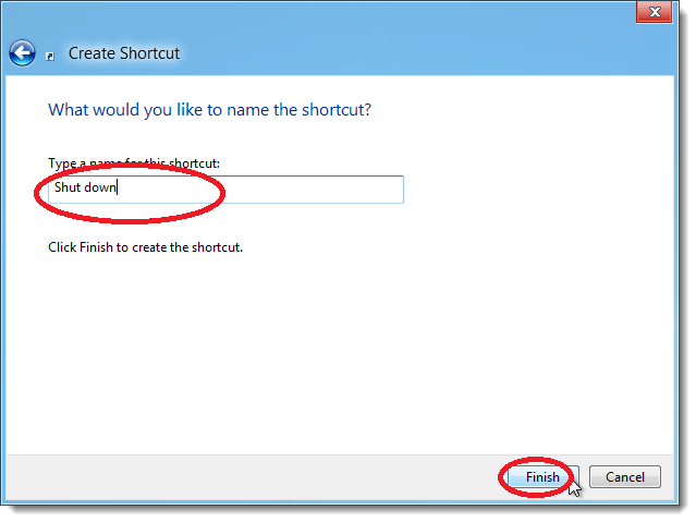 shoudown shortcut name