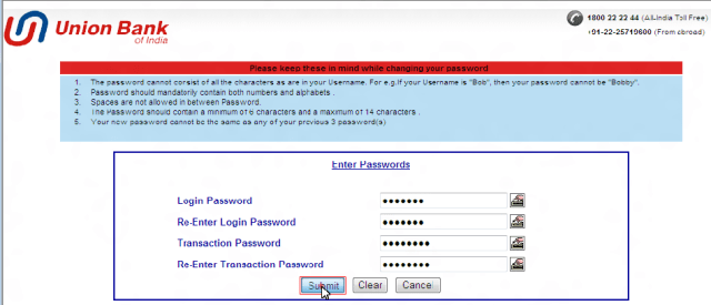 union bank of india net banking login password