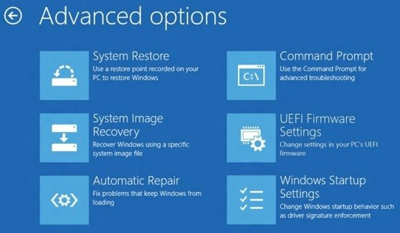 windows 8 advanced options to repair