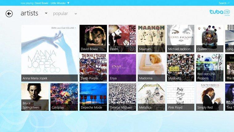 windows 8 tuba.fm app screenpage