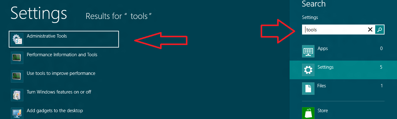 windows 8 administartive tools search