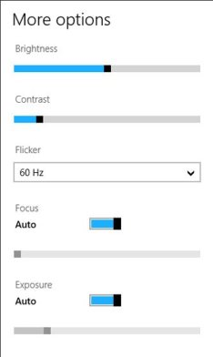 windows 8 camera app more options