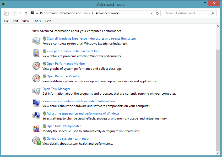 windows 8 choose advance tools