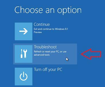 windows boot select any option