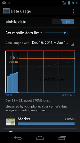 Managing Data Usage in Android 4.0