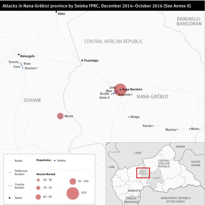 Map of Central African Republic attacks in the Nana-Grébizi province