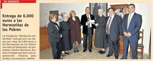 Entrega de 6.000 euros a las Hermanitas de los Pobres
