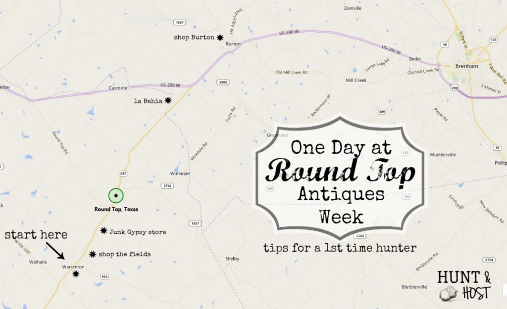 Here is a map of how I spend my time if I only have one day at Round Top Antique's Week