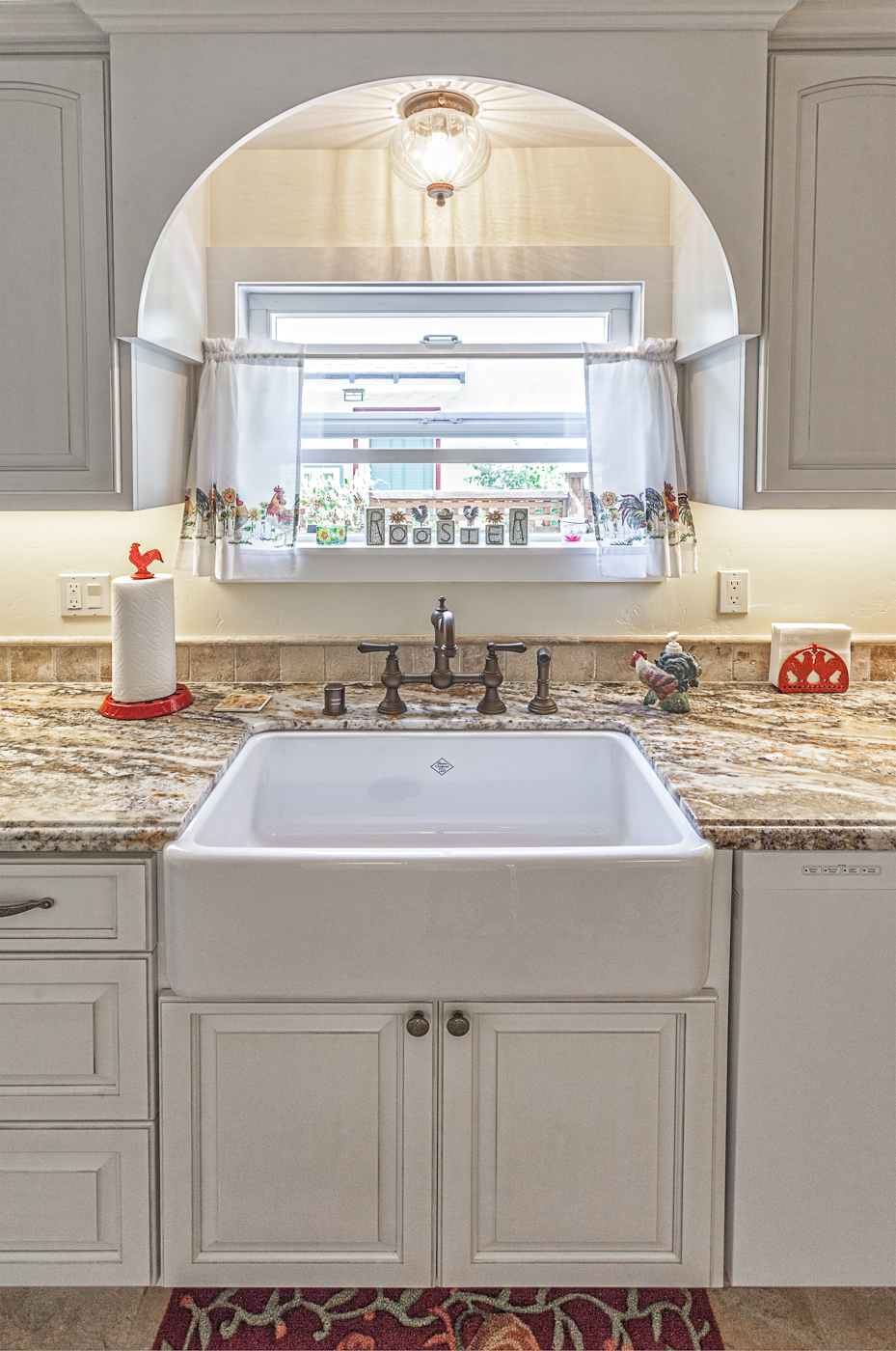 kitchen case study white country cabinets rohl kitchen faucets Rohl Perrin Rowe Bridge faucet with spray handle