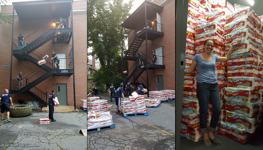 How do you get 4,000 of 5,000 rolls up to our third floor storage? TP Tossing, of course.