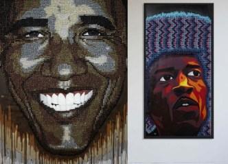Современное искусство: портреты известных людей из канцелярских кнопок (4)