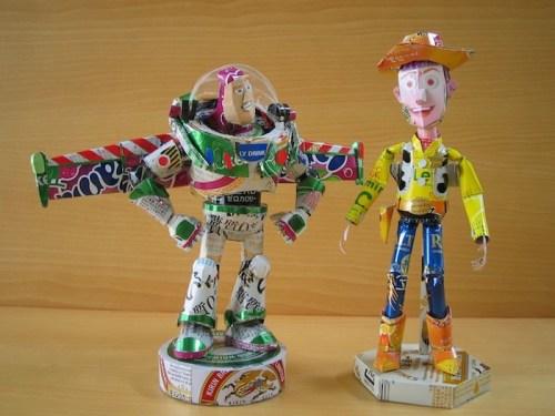 Мультяшные герои из картона и жестяных банок от Makaon'a (2)