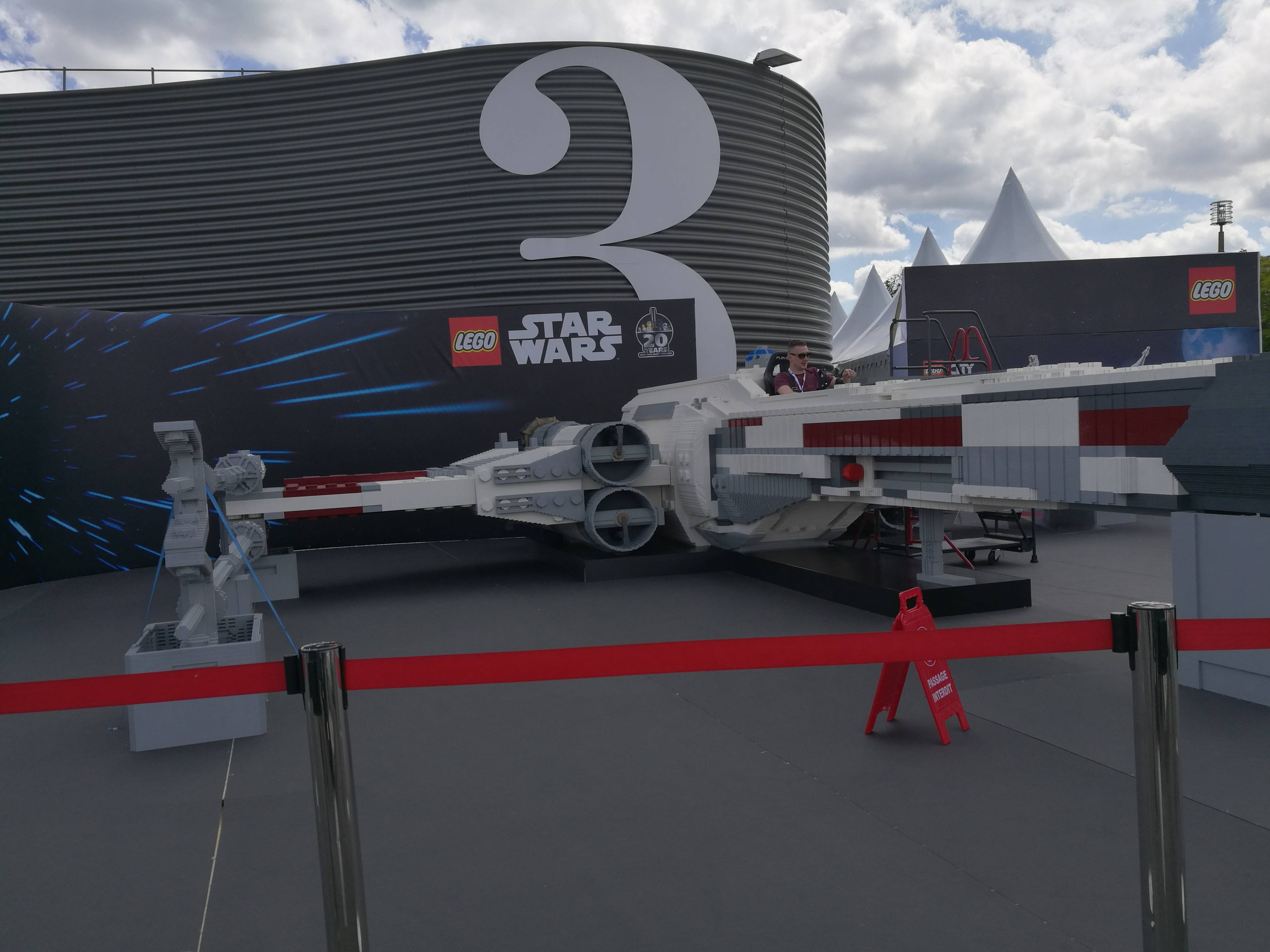 A life-size Lego X-wing fighter
