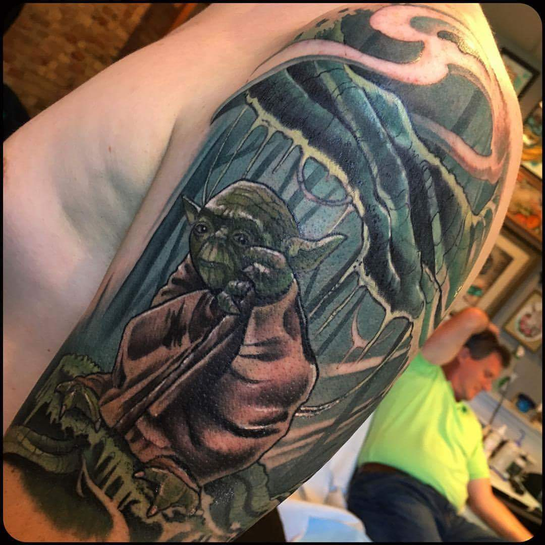 Yoda on Dagobah tattoo fresh from the shop!
