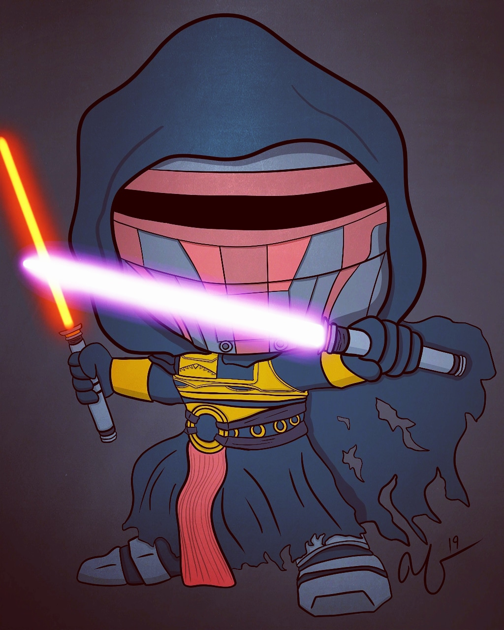 Was commissioned to draw Darth Revan as a funko pop. Figured you guys might get a kick out of it.