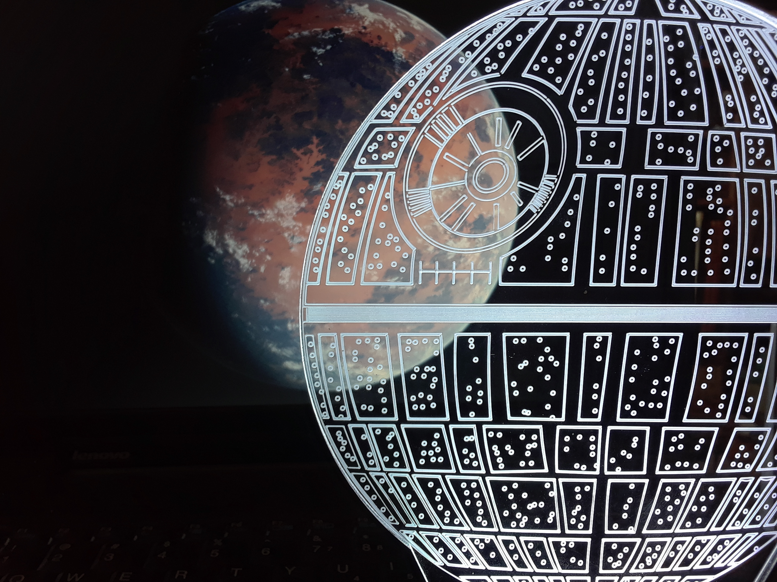 My new Death Star light arrived yesterday, so I figured what better way to take a picture of it then in front of Jedha w...