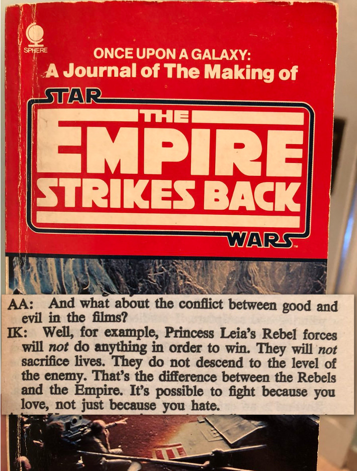This quote from an interview about Empire Strikes Back reminds me of a certain someone...
