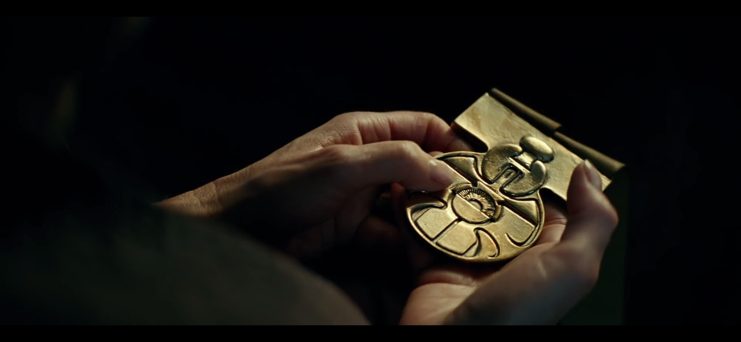Leia holding the medal she gave to Han or Luke