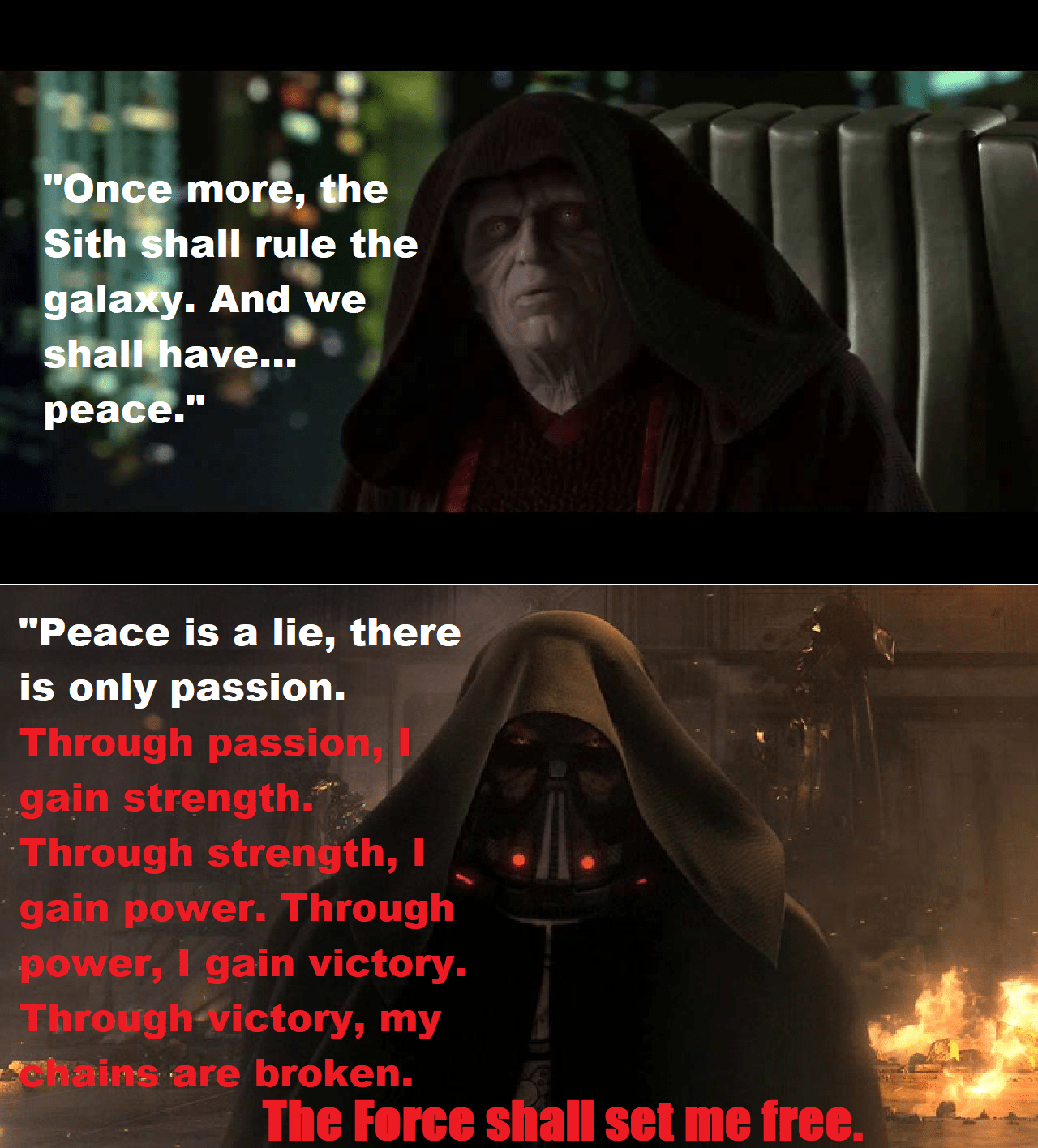 Palpatine convinced Anakin to become a Sith... by going going against the Sith code. [Cross post from r/SWTOR]