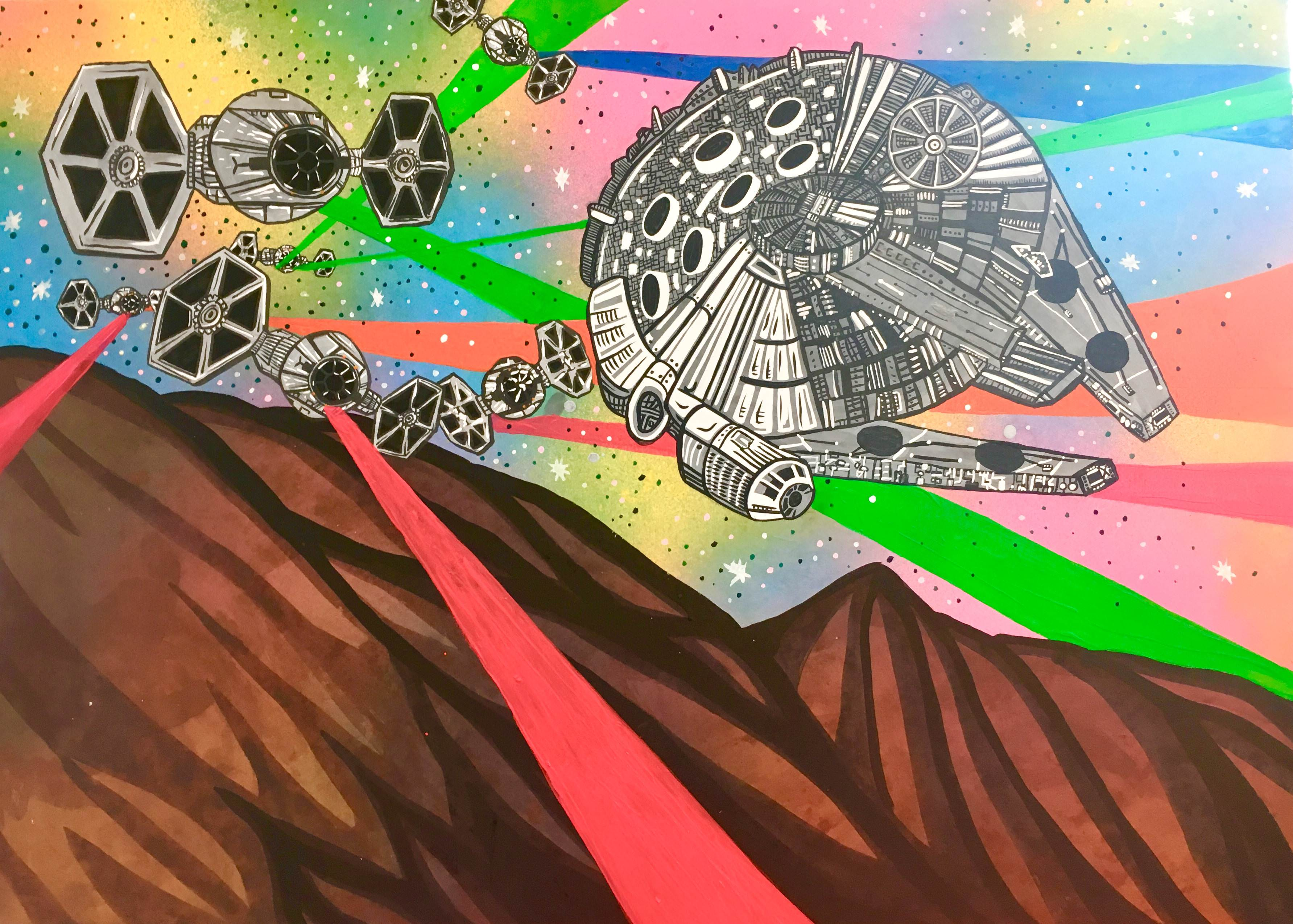 11 year old art student\'s tribute to Star Wars!