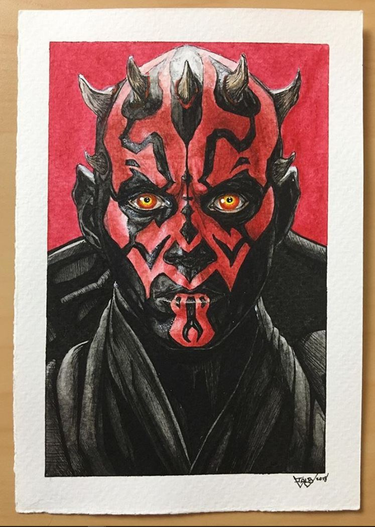 I painted Darth Maul. Ink and watercolors. I\'m really happy with this painting and I hope you guys like it.