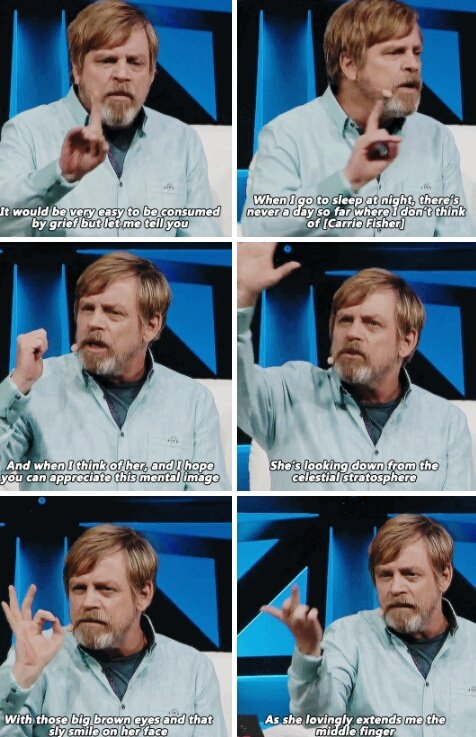 Mark Hamill honoring Carrie Fisher two years ago.
