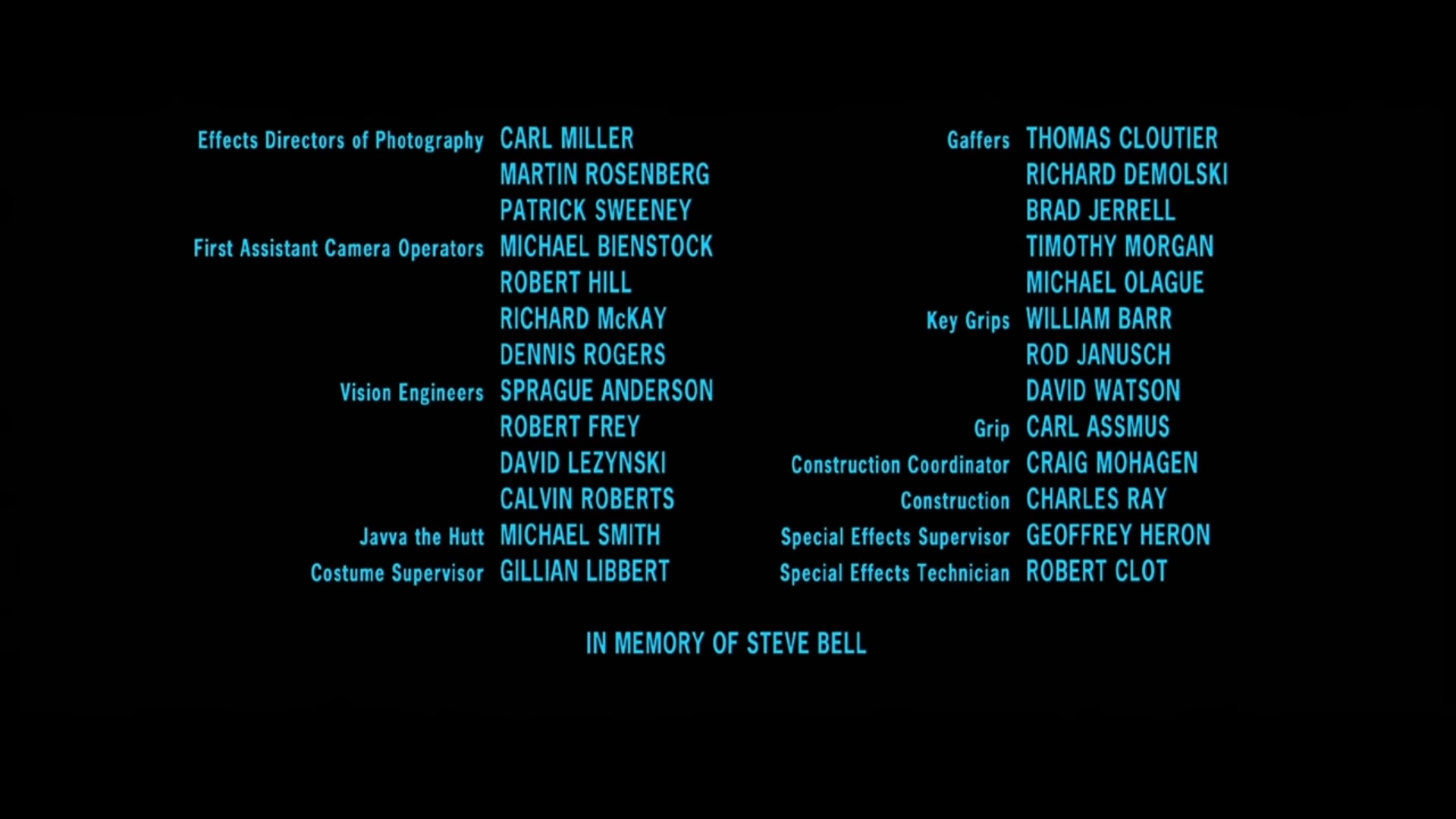 This is from the Attack of the Clones credits. This is probably the most brilliant way to credit the coffee gofer.