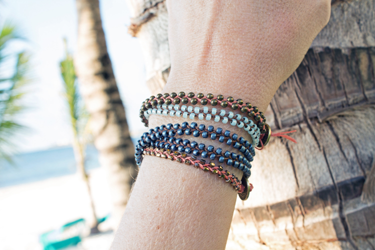 braided bracelets stacked