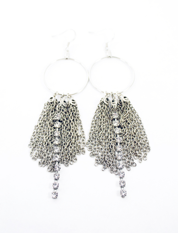 Tassel and Rhinestone Earrings