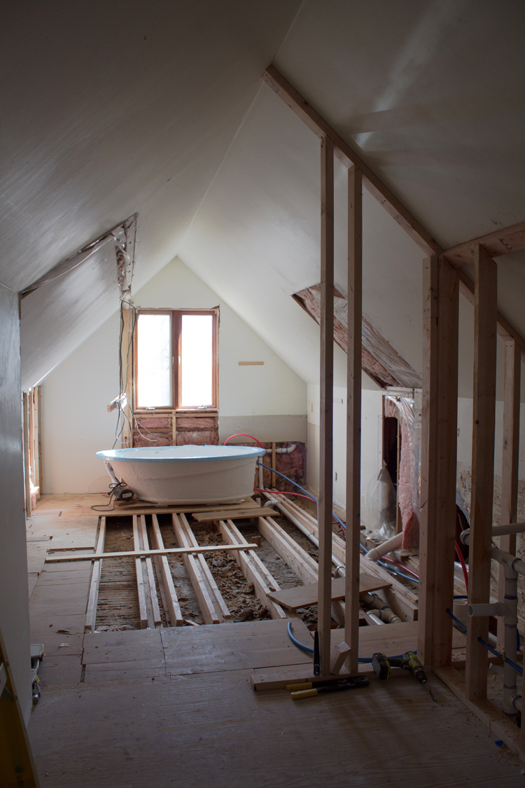 attic bath remodel demo