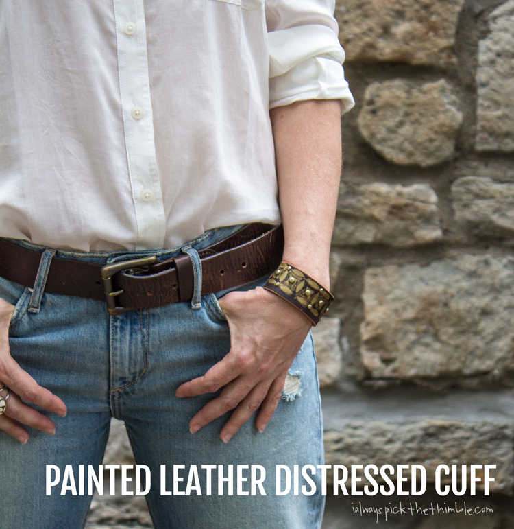 painted leather distressed cuff