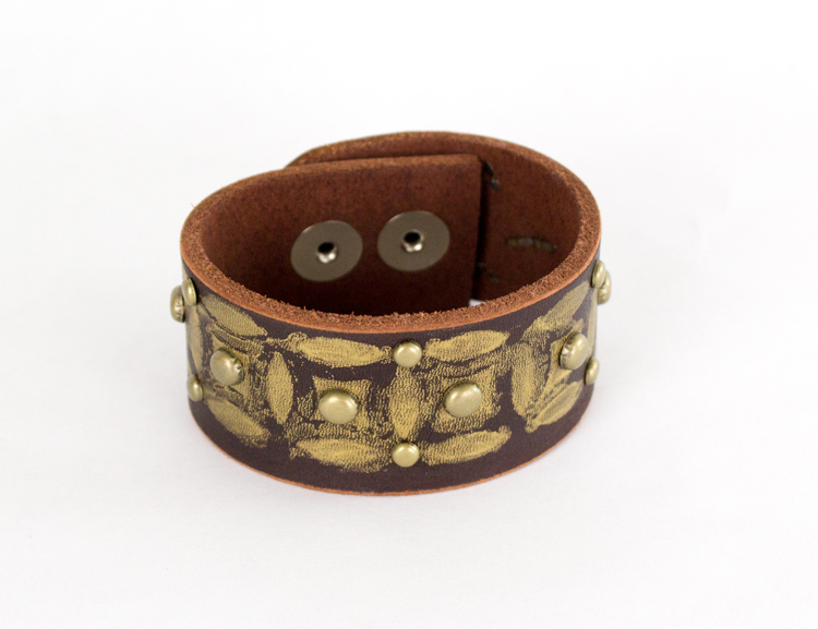 distressed leather cuff