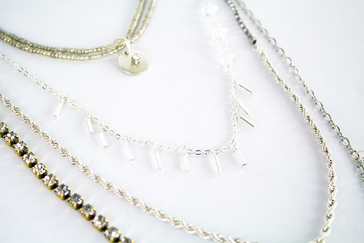 rhinestone and tassel necklace layers