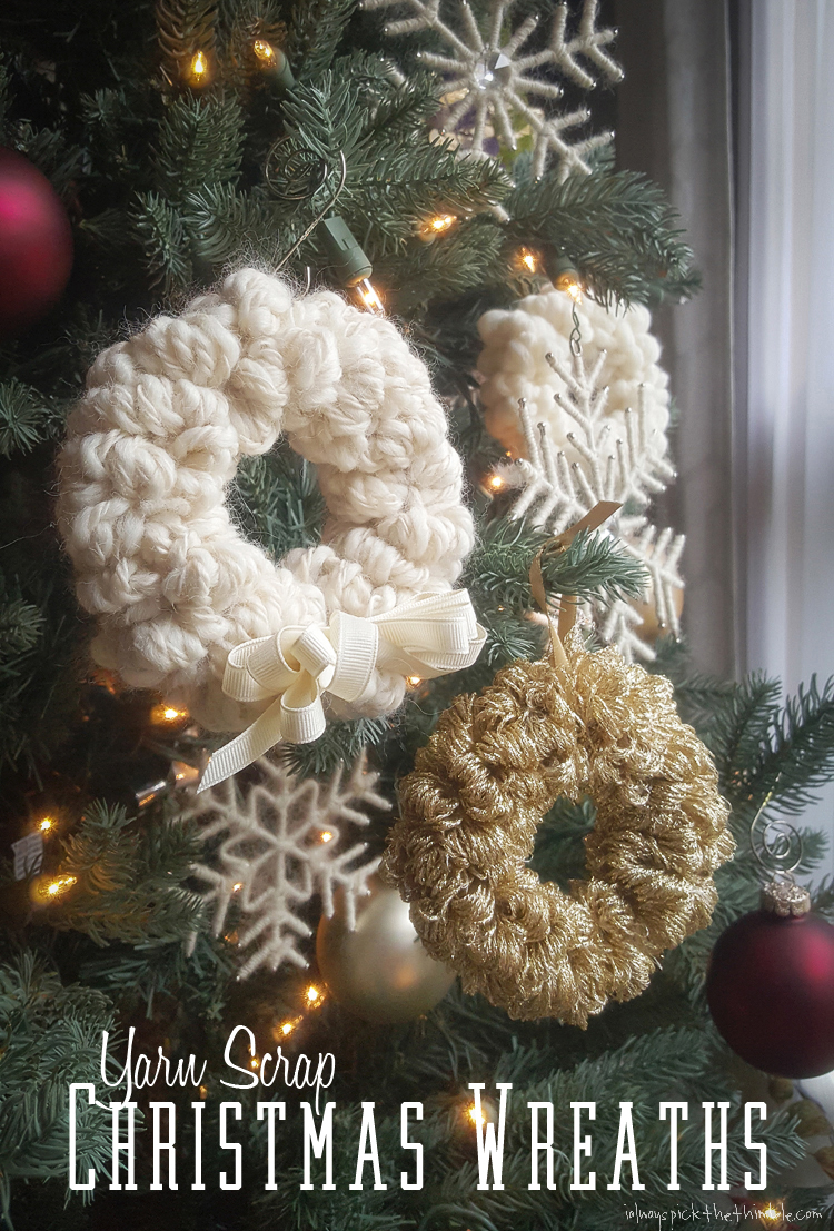trio of yarn christmas wreaths to make