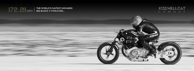 Confederate X132 Hellcat Combat makes new Bonneville Record