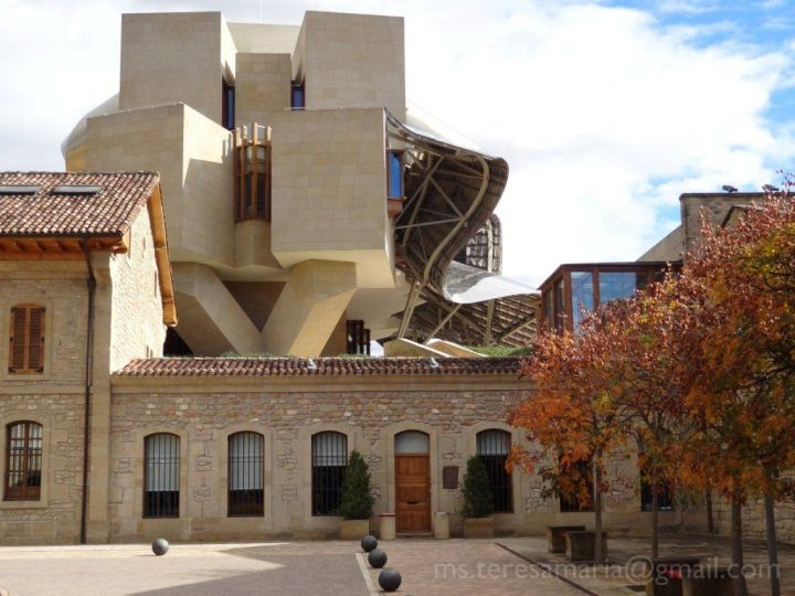 Hotel Marqués de Riscal seen from the side of the winery, Elciego, Spain