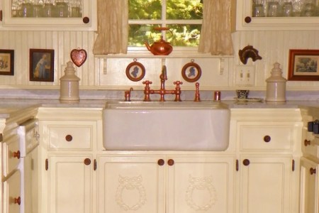 amazing furniture in small farmhouse kitchen design with white cabinet on best tile floor