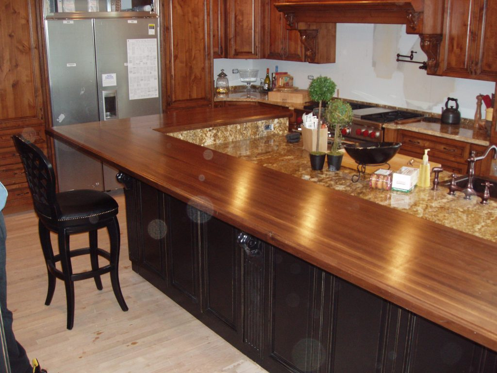 Amazing Long Design Ideas for Wooden Kitchen Countertops close near Simple Black Chair 1024x768
